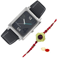 Attractive Titan Sonata Watch for Mens with One Rakhi and Roli, Tilak and Chawal.