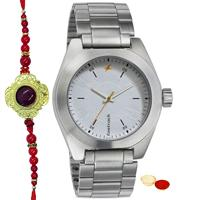 Stylish Gents Watch  with Metallic Body from Titan Fastrack with One Rakhi and Roli, Tilak and Chawal.