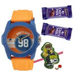 Appealing Fastrack Tees Gents Watch with Free 1 Ben 10 Rakhi with Chocolates and Roli Tilak Chawal