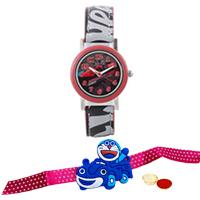 Attractive Hot Wheels Kids Watch from Disney with Doraemon Rakhi and Roli, Tilak and Chawal.