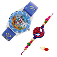 Fancy Doraemon Analog Kids Watch from Disney in Multicolour with Spider Man Rakhi and Roli, Tilak and Chawal.