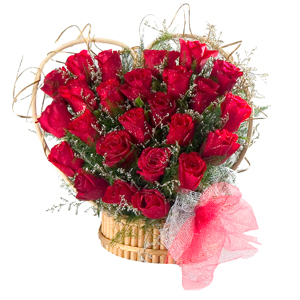Special Arrangement of 24 Red Roses Heart Shaped to India.