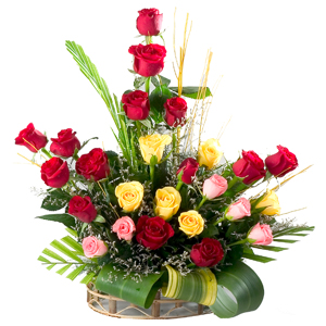 Special Arrangement of 24 Mixed Roses to India.